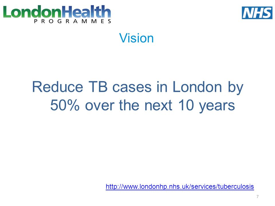 Reduce TB cases in London by 50% over the next 10 years