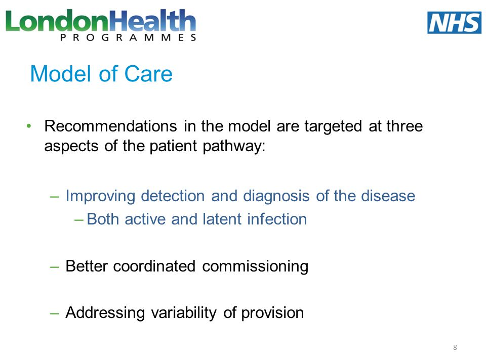 Model of Care Recommendations in the model are targeted at three aspects of the patient pathway: Improving detection and diagnosis of the disease.