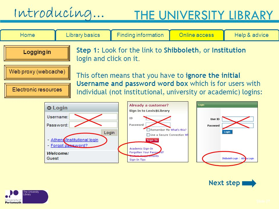 Introducing… Step 1: Look for the link to Shibboleth, or Institution