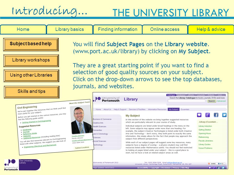 Introducing… You will find Subject Pages on the Library website.
