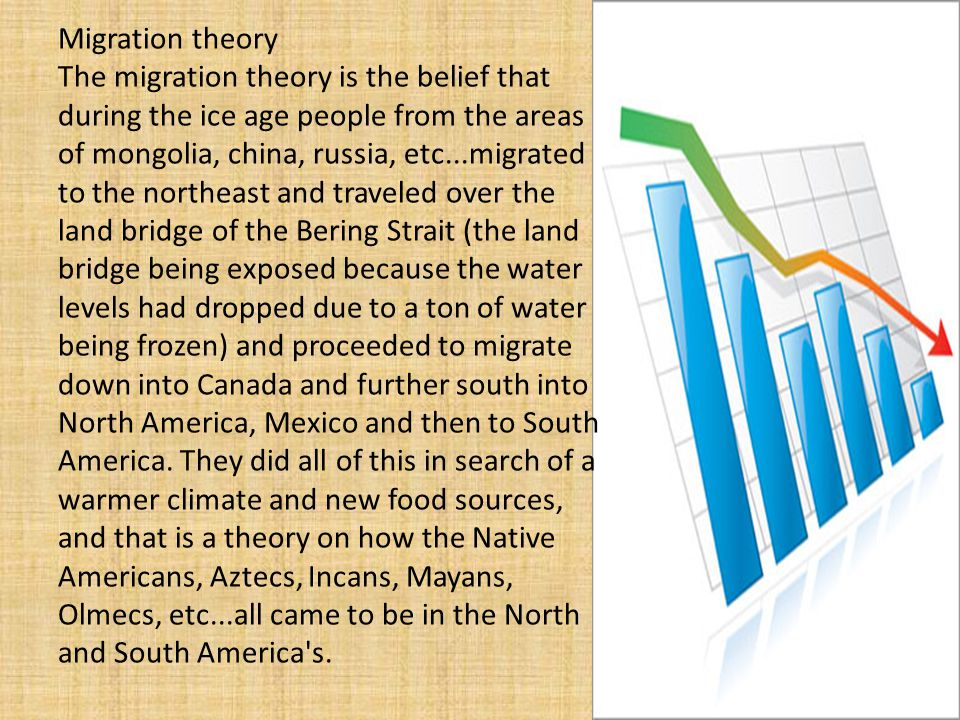 Migration theory The migration theory is the belief that during the ice age people from the areas of mongolia, china, russia, etc...migrated to the northeast and traveled over the land bridge of the Bering Strait (the land bridge being exposed because the water levels had dropped due to a ton of water being frozen) and proceeded to migrate down into Canada and further south into North America, Mexico and then to South America.