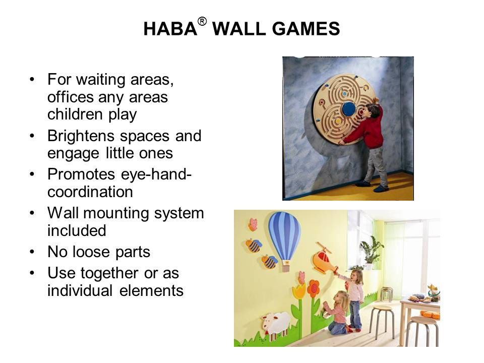 HABA® WALL GAMES For waiting areas, offices any areas children play
