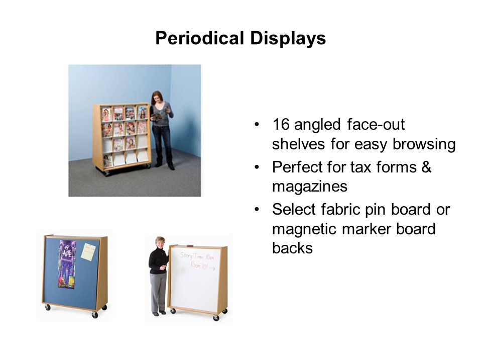 Periodical Displays 16 angled face-out shelves for easy browsing