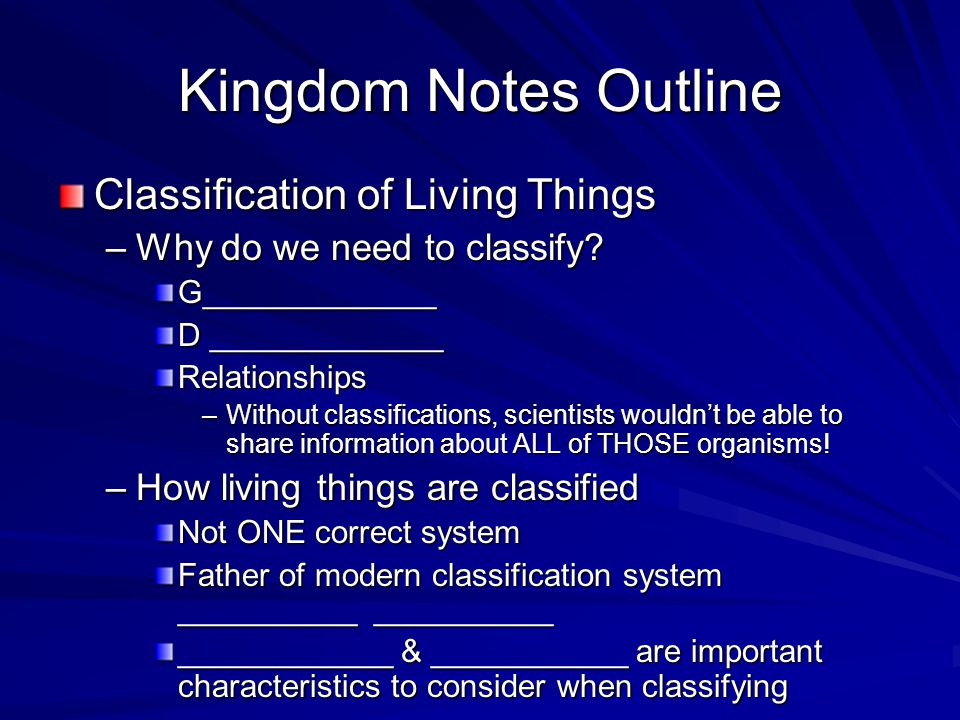 Kingdom Notes Outline Classification of Living Things