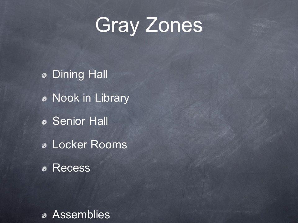 Gray Zones Dining Hall Nook in Library Senior Hall Locker Rooms Recess