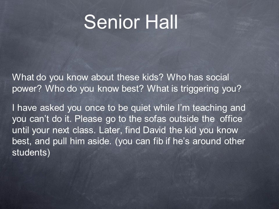 Senior Hall What do you know about these kids Who has social power Who do you know best What is triggering you