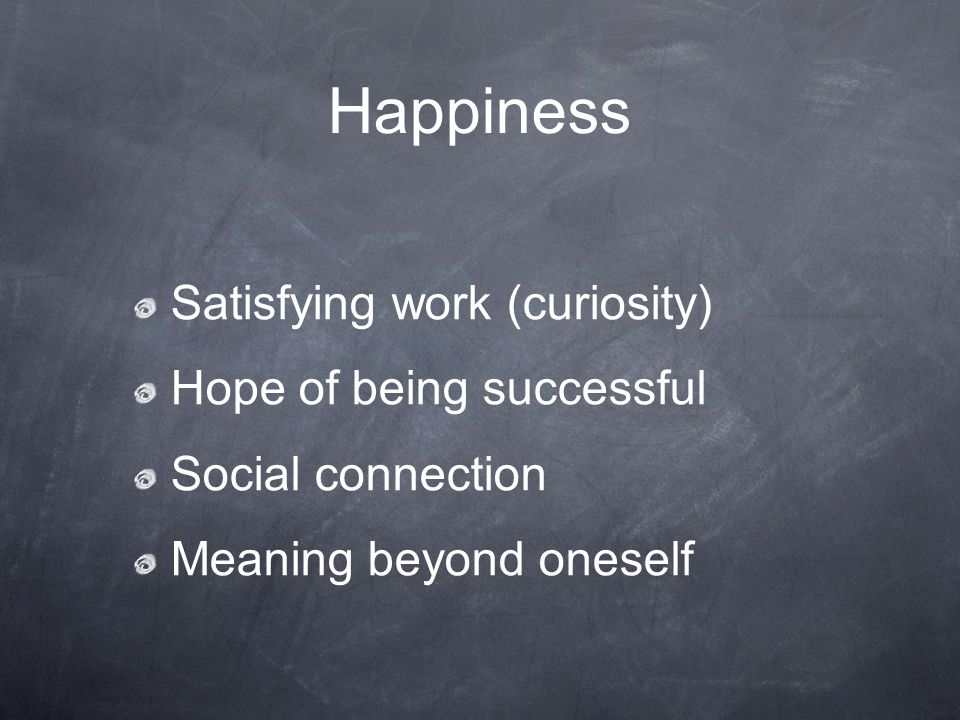 Happiness Satisfying work (curiosity) Hope of being successful