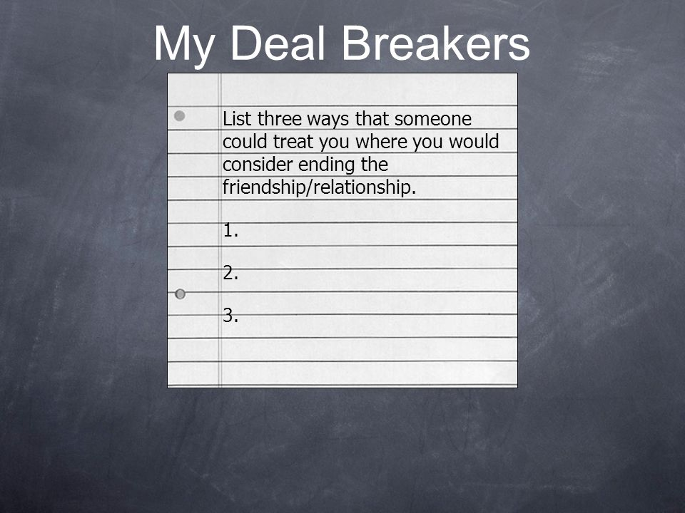 My Deal Breakers List three ways that someone could treat you where you would consider ending the friendship/relationship.