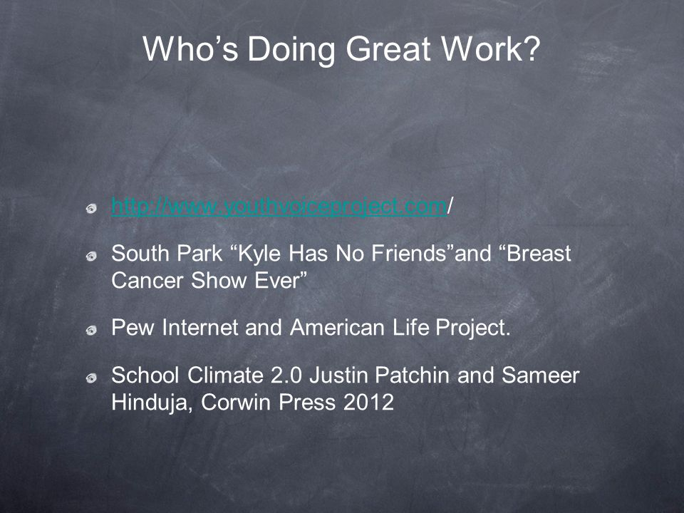 Who's Doing Great Work http://www.youthvoiceproject.com/
