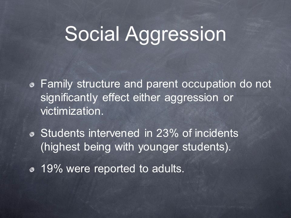 Social Aggression Family structure and parent occupation do not significantly effect either aggression or victimization.
