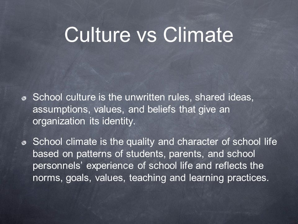 Culture vs Climate School culture is the unwritten rules, shared ideas, assumptions, values, and beliefs that give an organization its identity.
