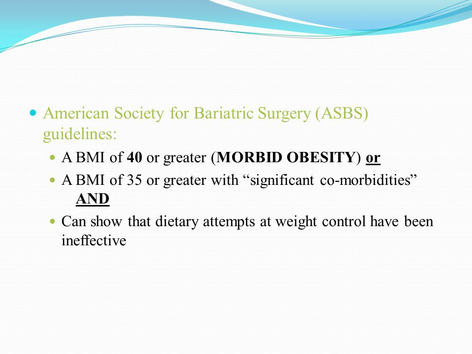 American Society for Bariatric Surgery (ASBS) guidelines: