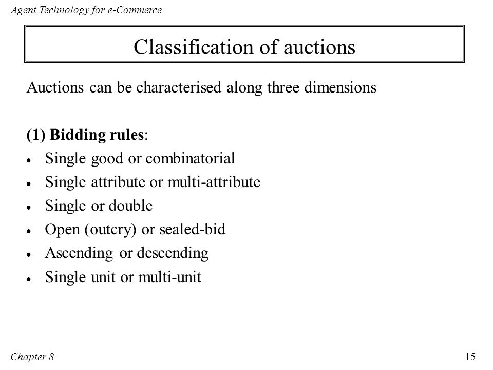 Classification of auctions