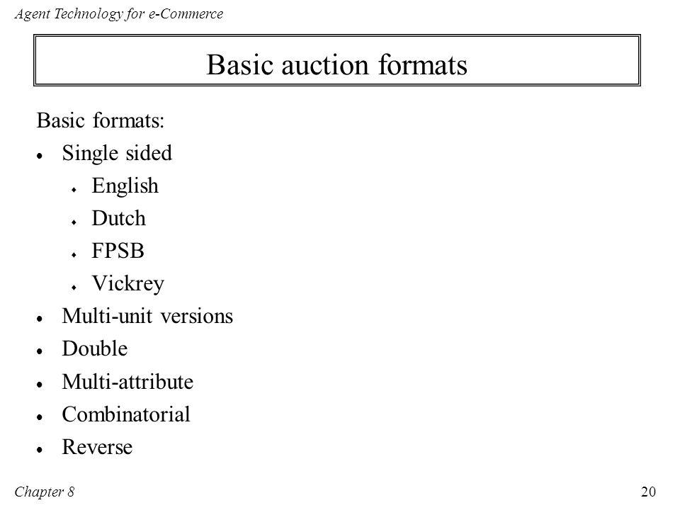 Basic auction formats Basic formats: Single sided English Dutch FPSB