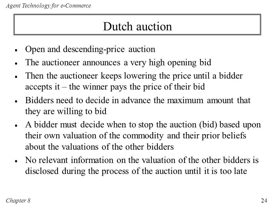 Dutch auction Open and descending-price auction