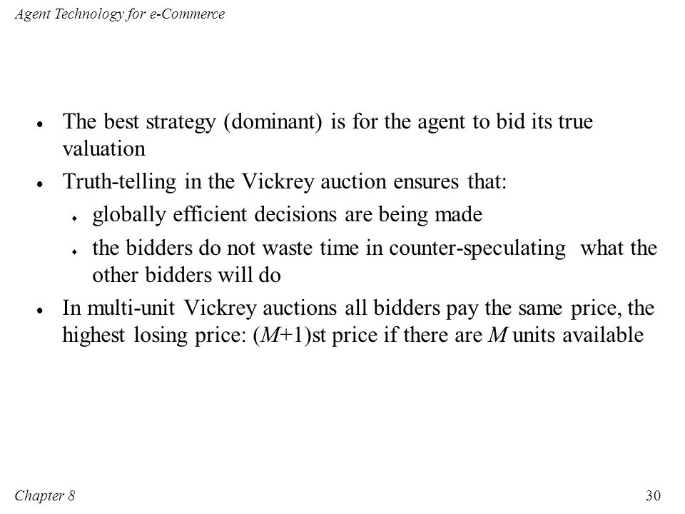 The best strategy (dominant) is for the agent to bid its true valuation