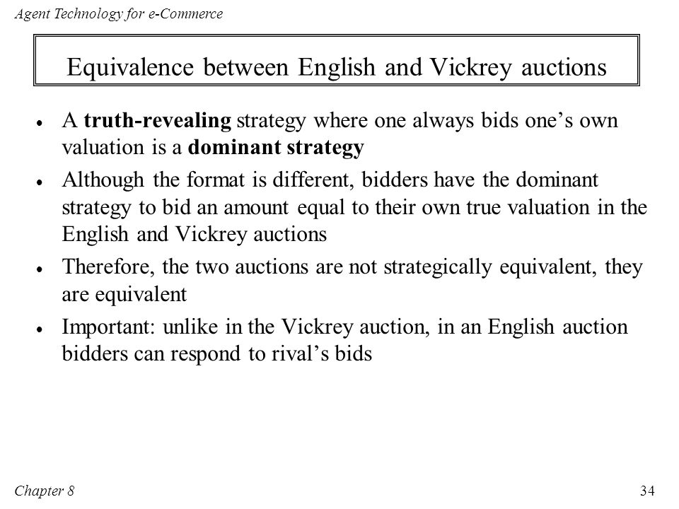 Equivalence between English and Vickrey auctions