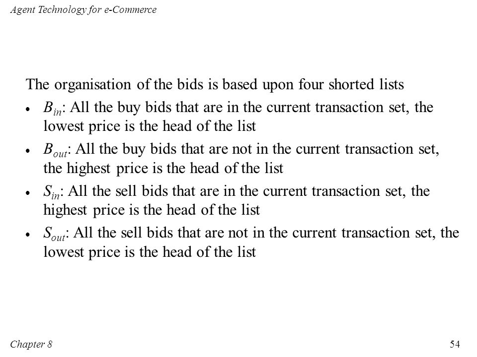The organisation of the bids is based upon four shorted lists