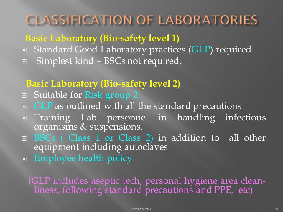 CLASSIFICATION OF LABORATORIES