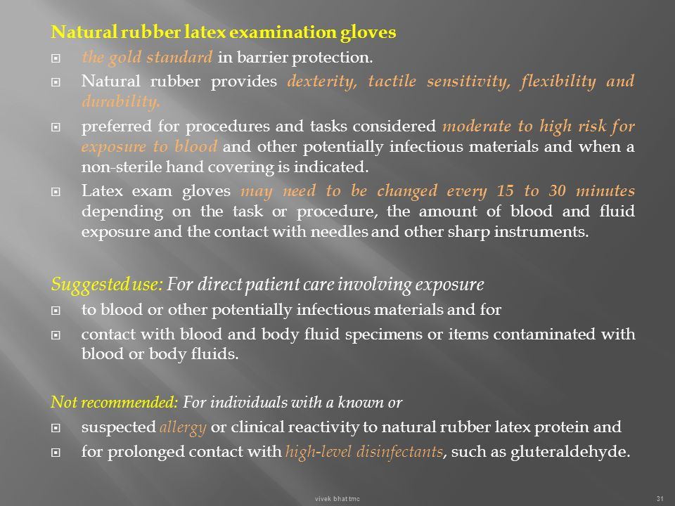 Natural rubber latex examination gloves
