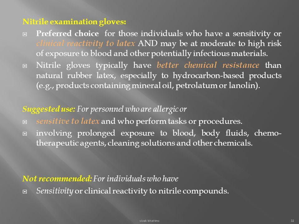 Nitrile examination gloves: