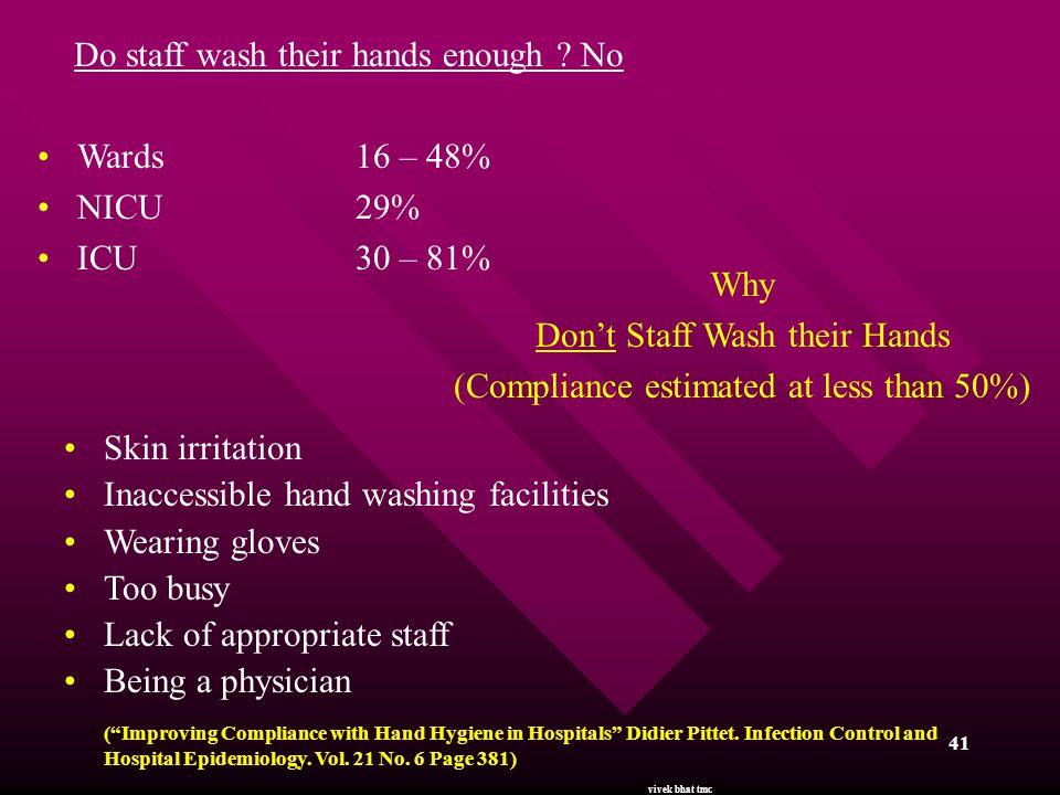 Do staff wash their hands enough No Wards 16 – 48% NICU 29%
