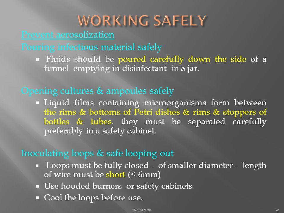 WORKING SAFELY Prevent aerosolization