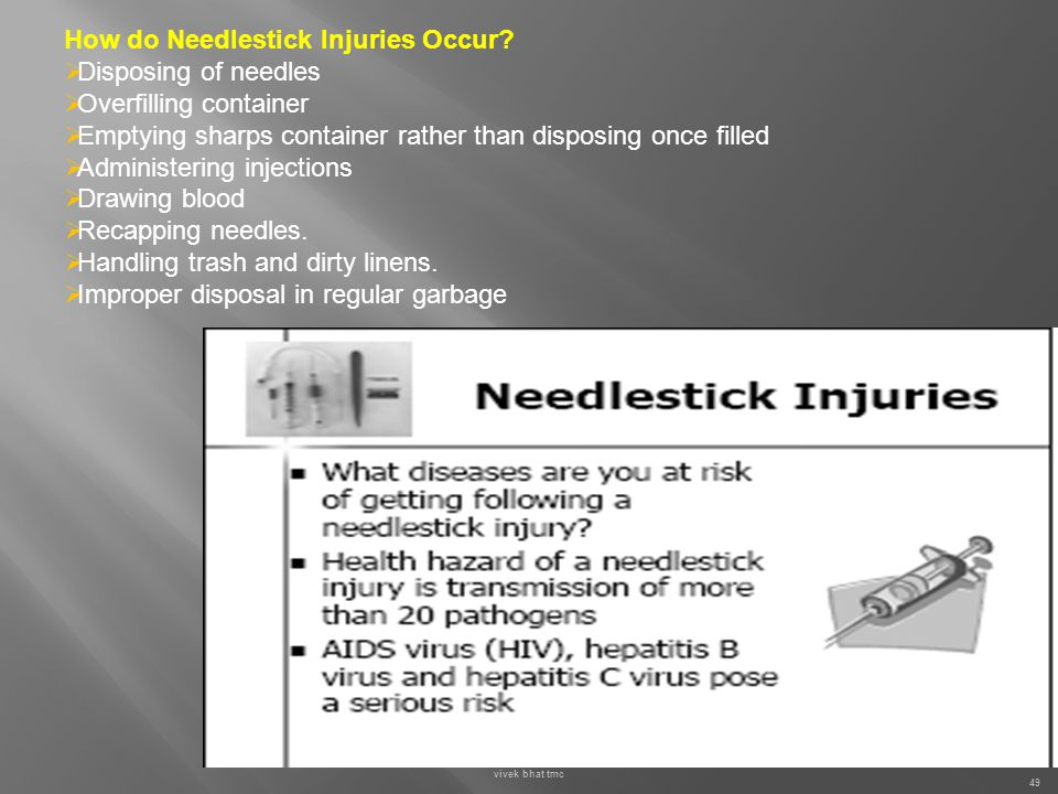 How do Needlestick Injuries Occur Disposing of needles
