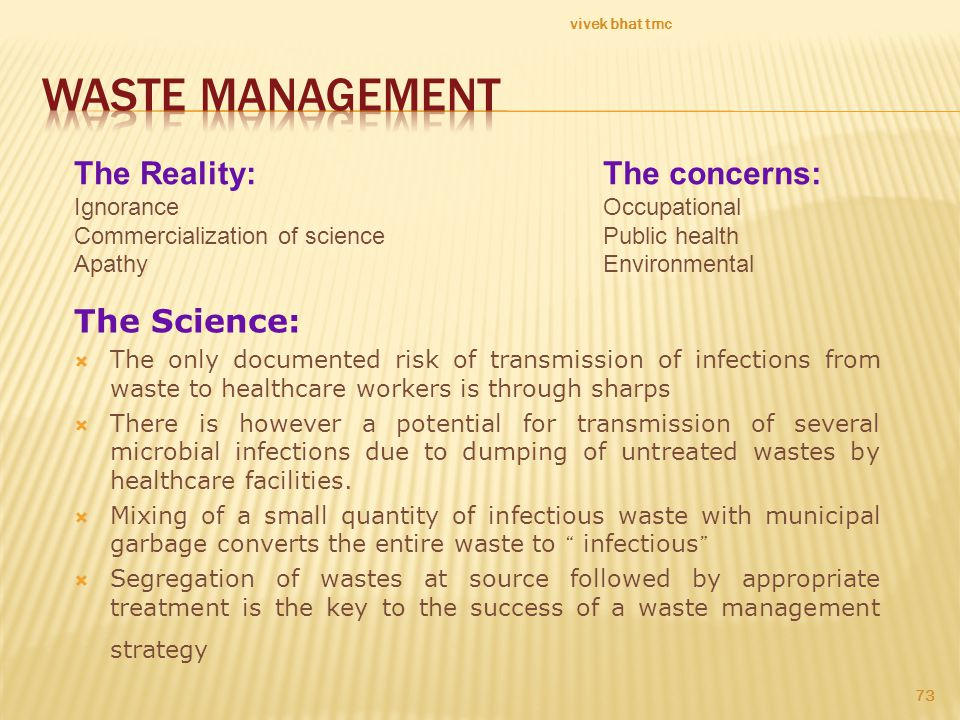 WASTE Management The Reality: The concerns: The Science: Ignorance