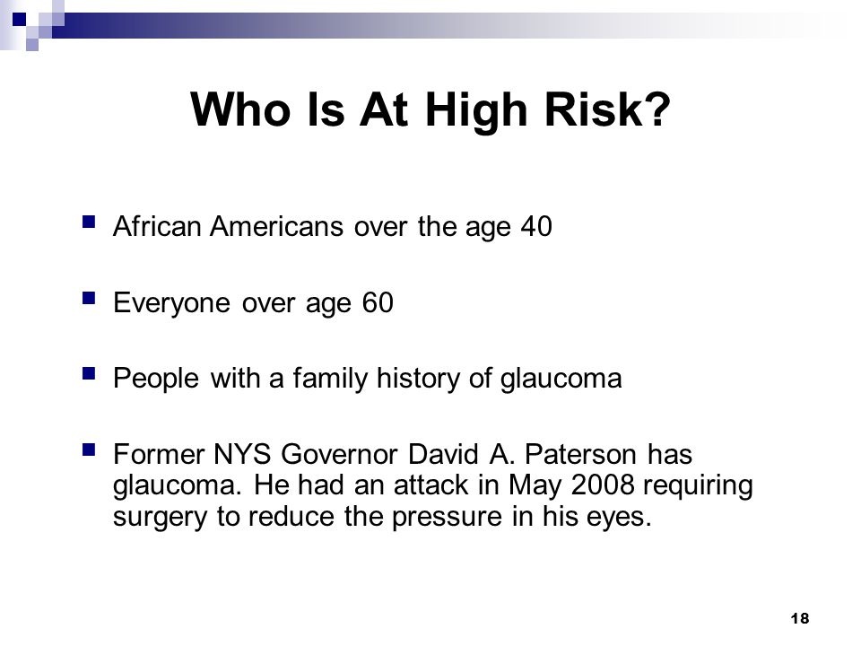 Who Is At High Risk African Americans over the age 40