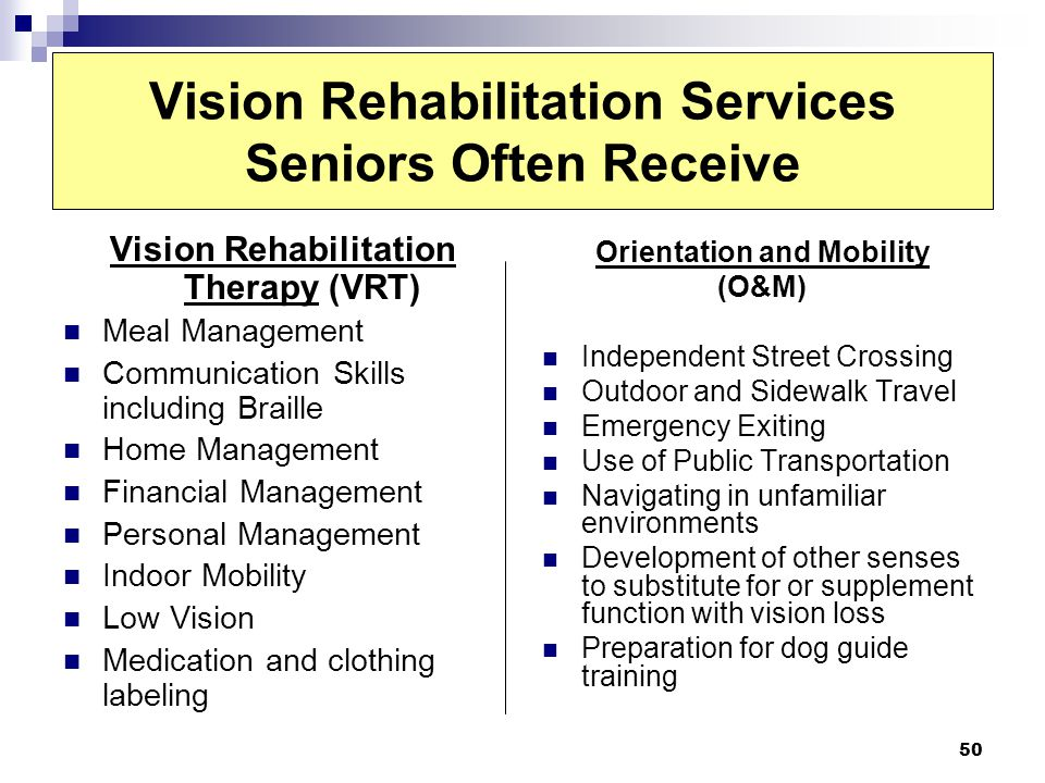 Vision Rehabilitation Services Seniors Often Receive