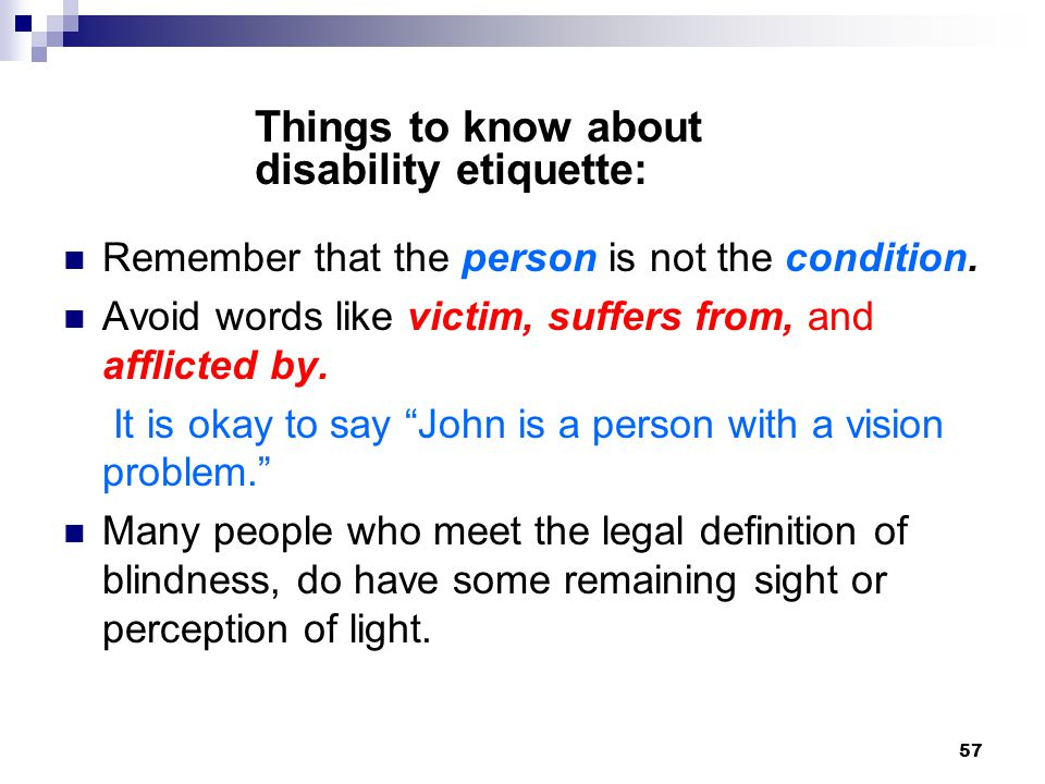 Things to know about disability etiquette: