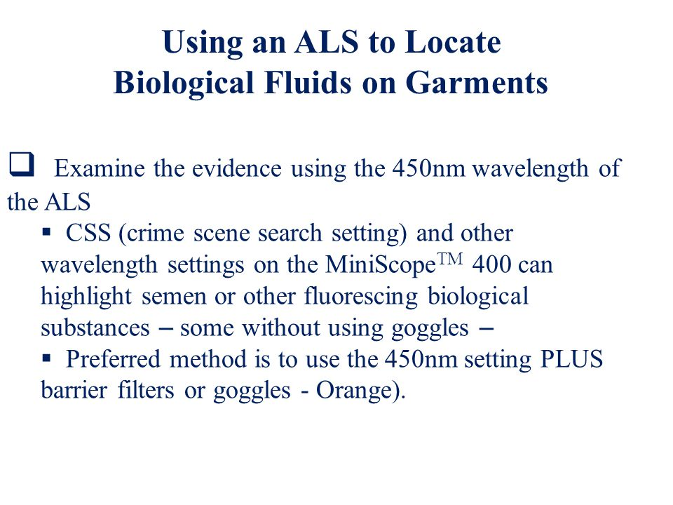 Biological Fluids on Garments