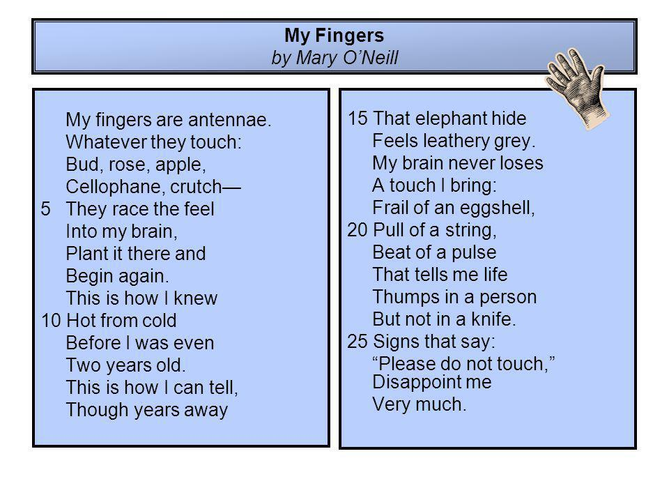 My Fingers by Mary O'Neill