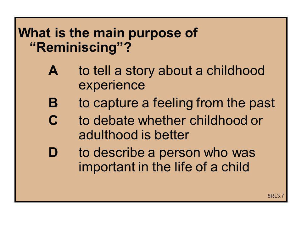What is the main purpose of Reminiscing