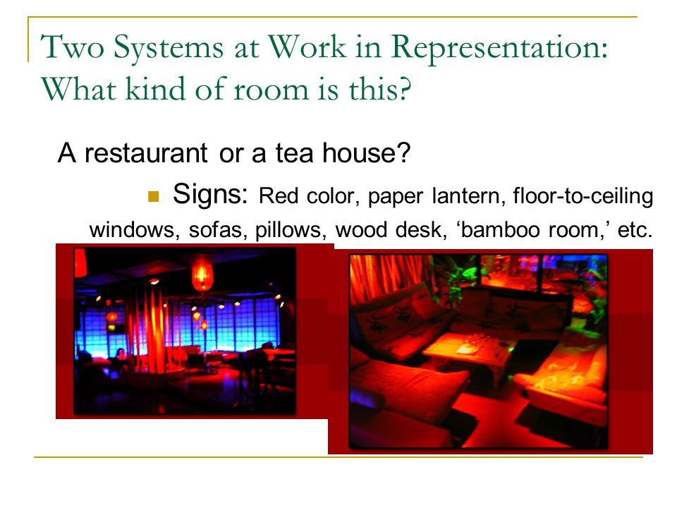 Two Systems at Work in Representation: What kind of room is this