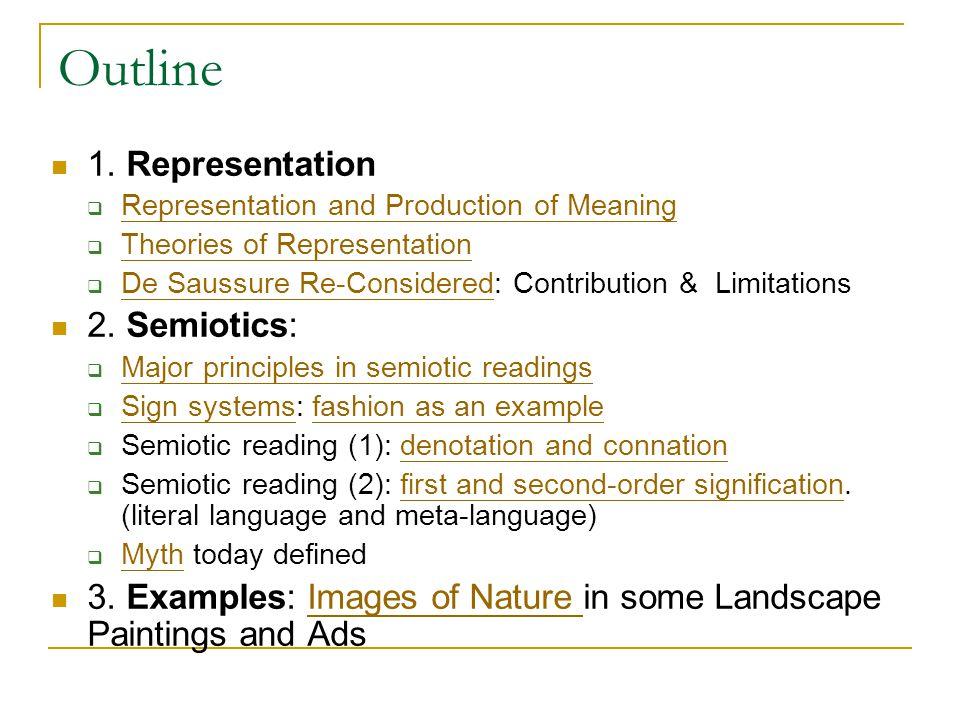 Outline 1. Representation 2. Semiotics: