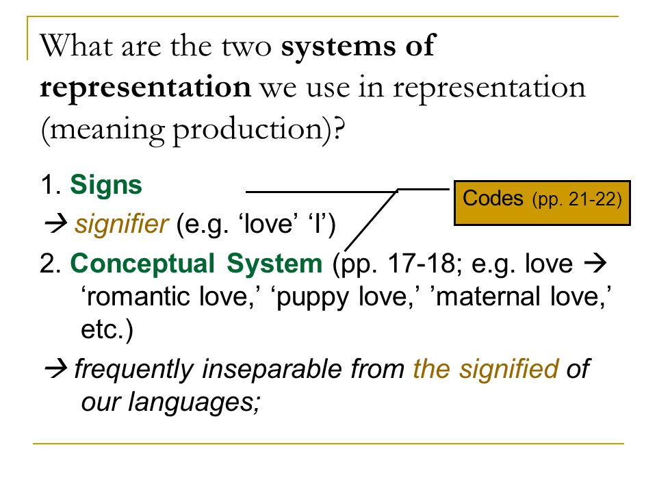 What are the two systems of representation we use in representation (meaning production)
