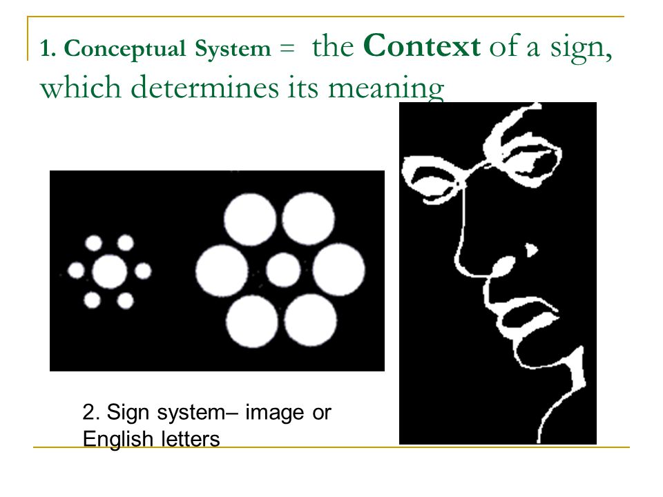 1. Conceptual System = the Context of a sign, which determines its meaning