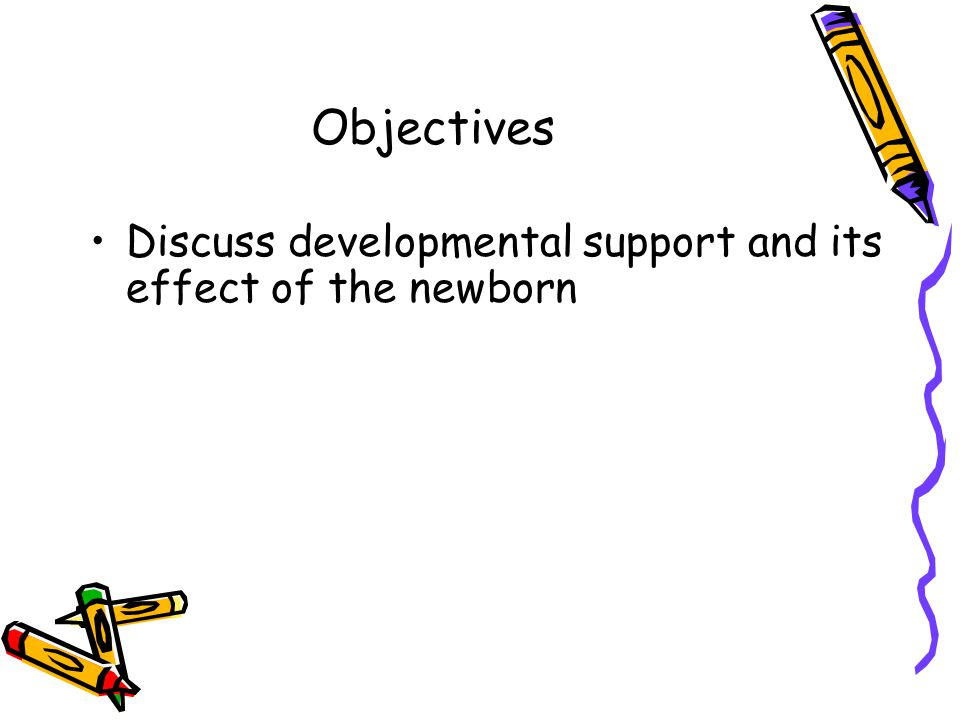 Objectives Discuss developmental support and its effect of the newborn