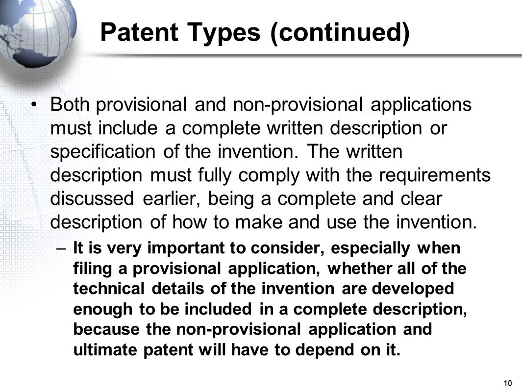 Patent Types (continued)
