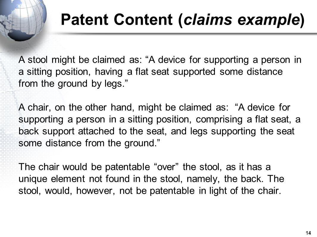 Patent Content (claims example)
