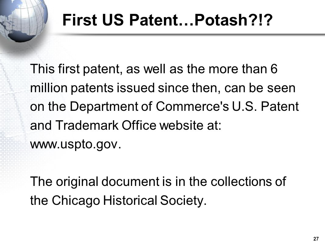 First US Patent…Potash !