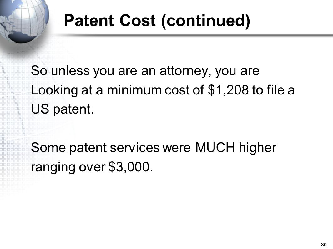 Patent Cost (continued)