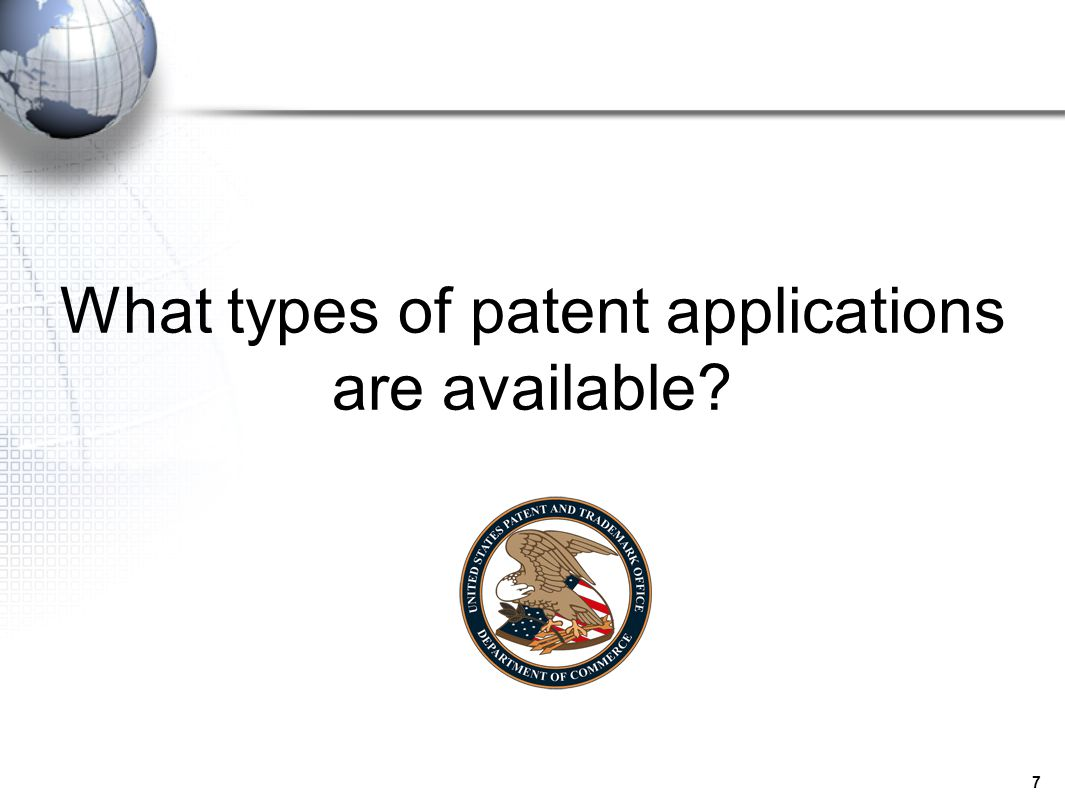 What types of patent applications are available