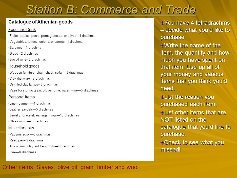 Station B: Commerce and Trade