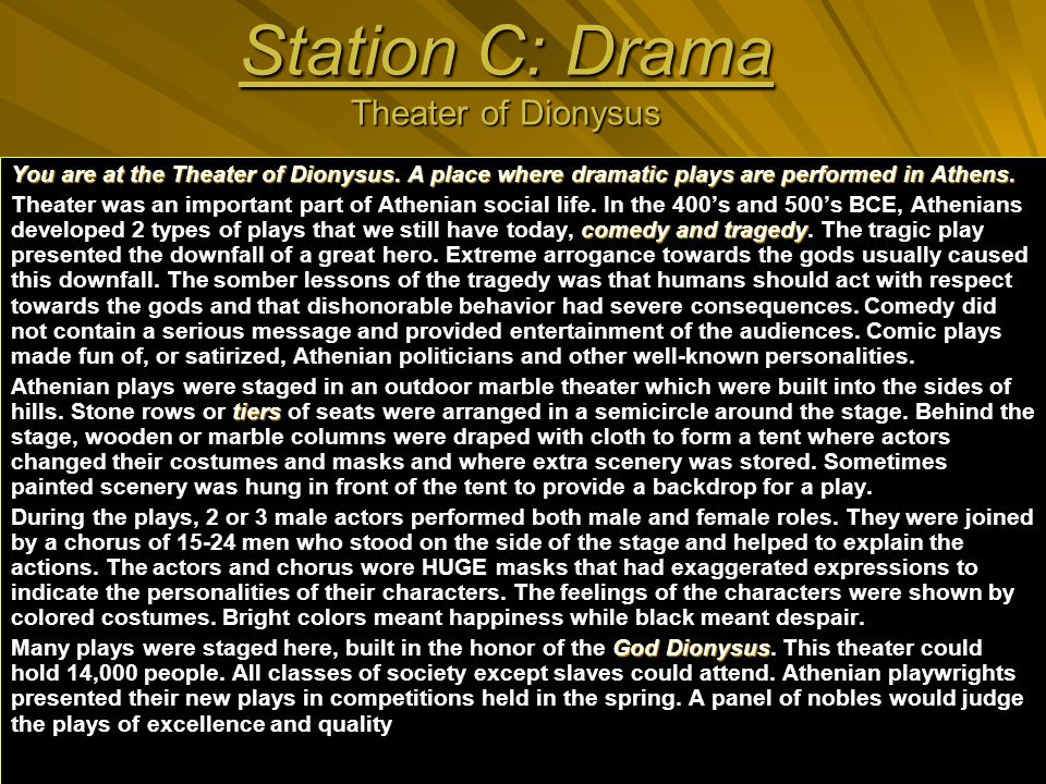 Station C: Drama Theater of Dionysus