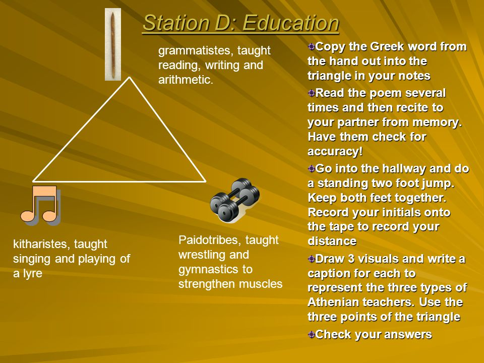 Station D: Education Copy the Greek word from the hand out into the triangle in your notes.