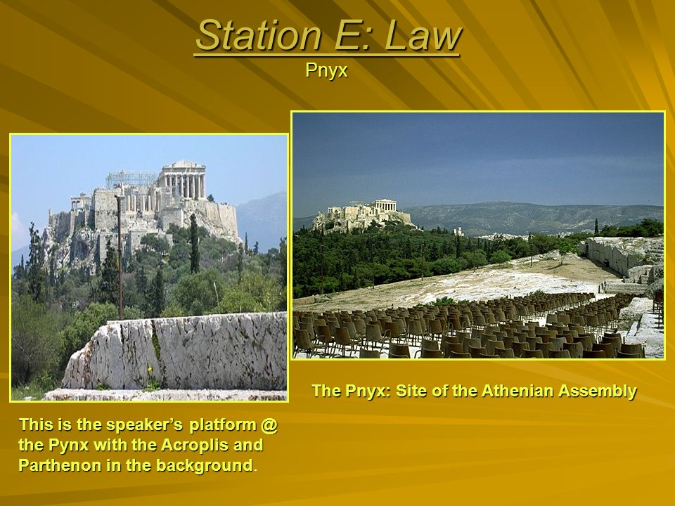 Station E: Law Pnyx The Pnyx: Site of the Athenian Assembly