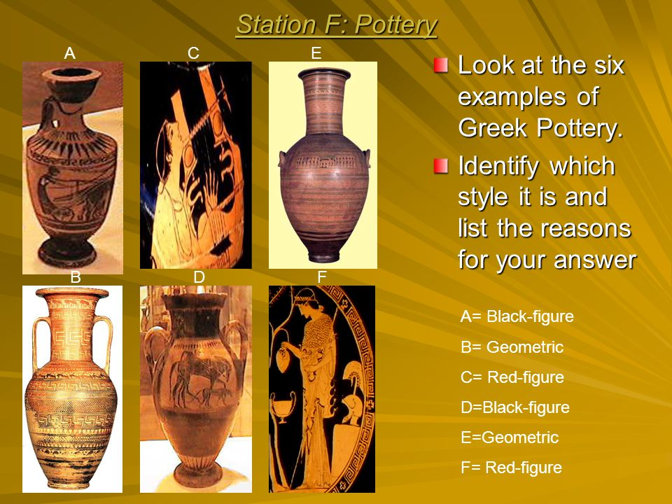 Look at the six examples of Greek Pottery.